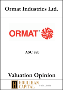 ORMAT Industries - ASC 820 - Valuation Opinion Tombstone
