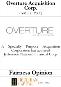 Overture Acquisition Corp - Fairness Opinion Tombstone