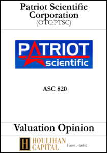 Patriot Scientific Corporation - ASC 820 - Valuation Opinion Tombstone