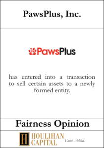 Paws Plus - Fairness Opinion Tombstone