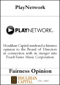 PlayNetwork - Fairness Opinion Tombstone