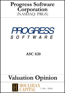 Progress Software - ASC 820 - Valuation Opinion Tombstone