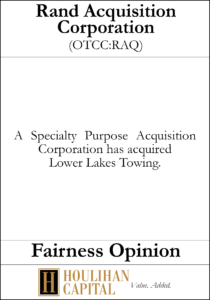 Rand Acquisition Corp - Fairness Opinion Tombstone