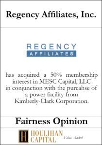 Regency Affiliates - Fairness Opinion Tombstone