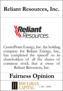 Reliant Resources - Fairness Opinion Tombstone