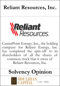 Reliant Resources - Solvency Opinion Tombstone