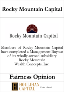 Rocky Mountain Capital - Fairness Opinion Tombstone