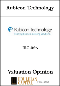 Rubicon Technology - 409A - Valuation Opinion Tombstone