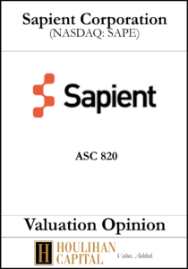 Sapient Corporation - ASC 820 - Valuation Opinion Tombstone