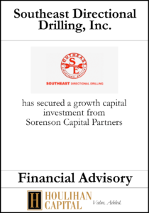 Southeast Directional Drilling, Inc. - Financial Advisory Tombstone