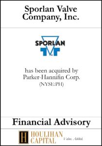 Sploran Valve Company - Financial Advisory Tombstone