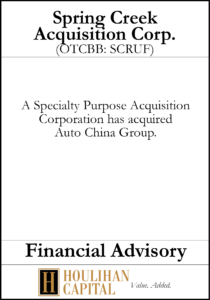 Spring Creek Acquisition Corp - Fairness Opinion Tombstone