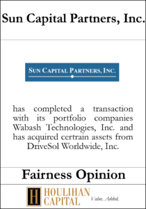 Sun Capital Partners - Fairness Opinion Tombstone