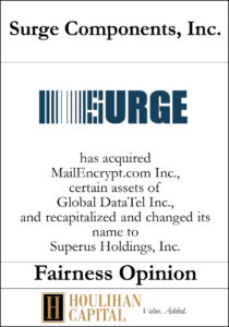 Surge Components - Fairness Opinion Tombstone