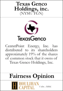 Texas Genco Holdings - Fairness Opinion Tombstone