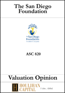 The San Diego Foundation - ASC 820 - Valuation Opinion Tombstone