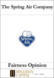 The Spring Air Company - Fairness Opinion Tombstone