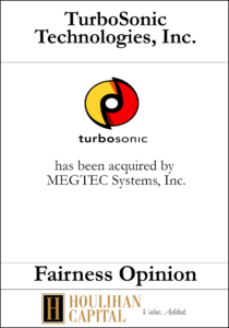 TurboSonic Technologies - Fairness Opinion Tombstone
