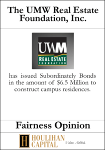 The UMW Real Estate Foundation - Fairness Opinion Tombstone