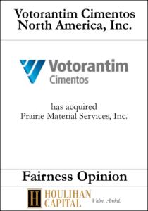 Votorantim Cimentos North America, Inc. - Fairness Opinion Tombstone