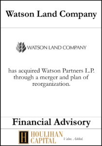 Watson Land Company - Financial Advisory Tombstone