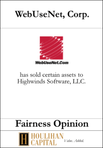 WebUseNet Corp - Fairness Opinion Tombstone