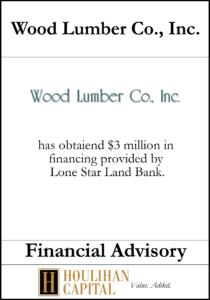 Wood Lumber Co - Financial Advisory Tombstone