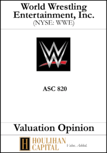 World Wrestling Entertainement - ASC 820 - Valuation Opinion Tombstone