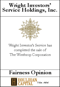 Wright Investors' Service Holding - Fairness Opinion Tombstone