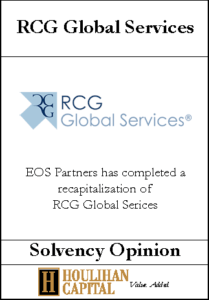 RCG Global Services - Solvency Opinion Tombstone